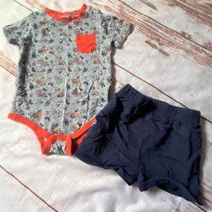 Disney Parks infant outfit-gray/blue-18 months